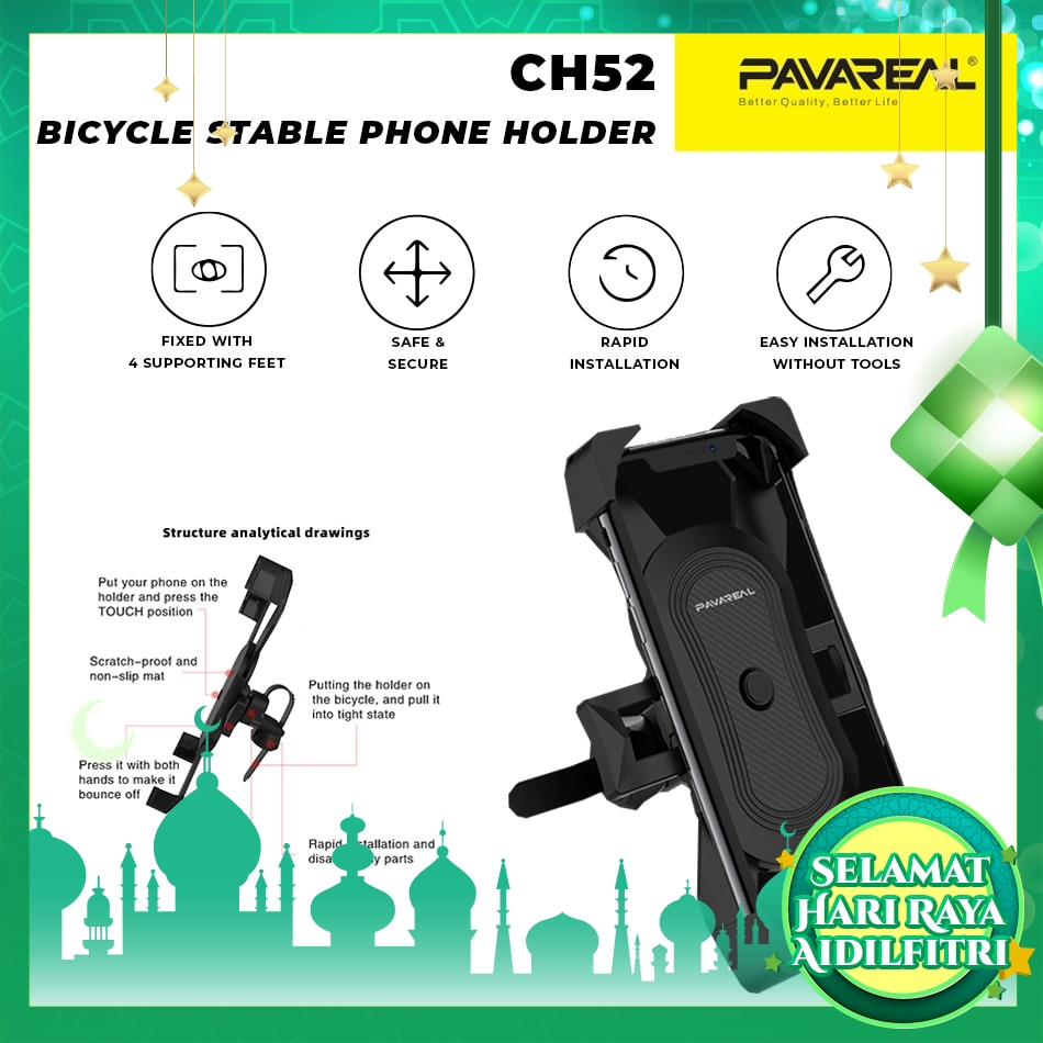 PAVAREAL 360 Rotating Motorcycle Phone Holder Bicycle Holder High Stability Solid for Motor Bike 16 Gears Adjustable