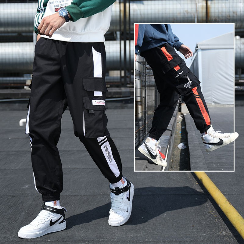 Tracksuit Pants✿Mens Autumn Winter Casual Fashion Slack Overalls Small Feet Trousers Ninth Pants Sweapants Mens Jogging with Fleece Lining Jogger