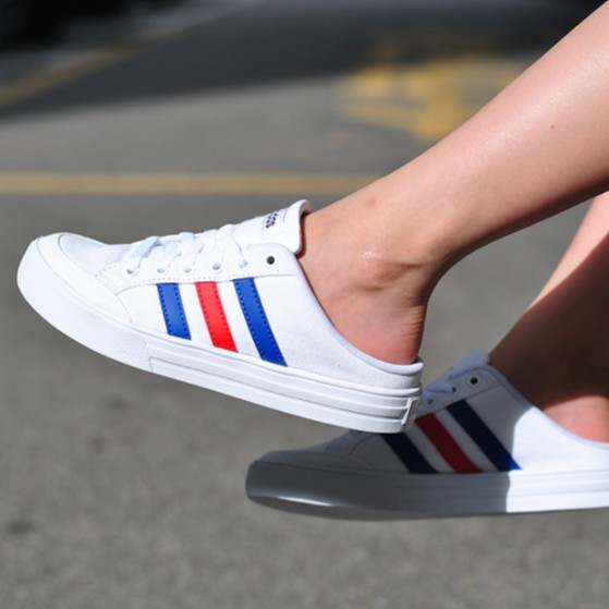 Molestar factible conducir  100% Original Adidas VS SET MULE Low Top Slip On Loafers School All-match  Breathable White Shoes For Women And Men   Shopee Malaysia