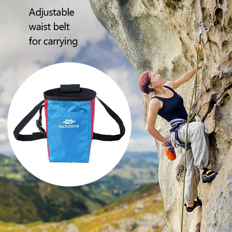 Doubleer Chalk Bag Storage Waist Pouch For Outdoor Rock Climbing Gym With Drawstring and Adjustable Belt