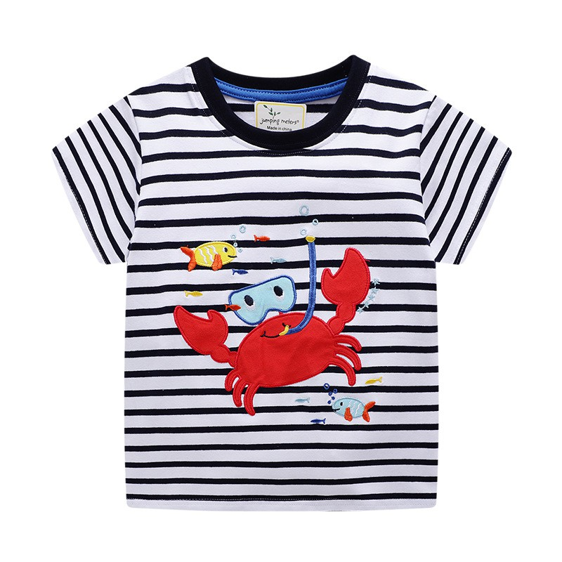 f4d00f9708547 Cartoon Crabs Fish Print Baby Boy Clothes T Shirt for Summer Kids Boys  Striped T-Shirts Clothes Cotton Toddler Tops Todd
