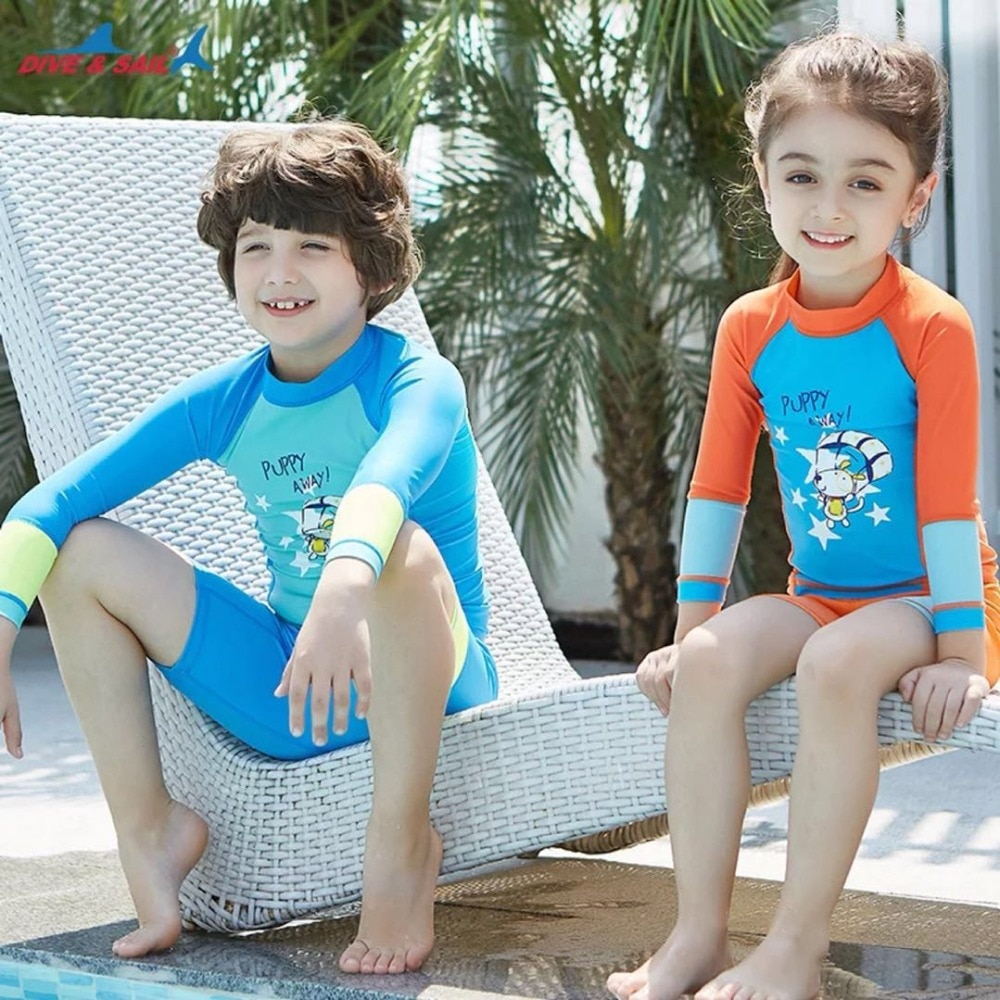 One Piece Kids Girls Boys Swimsuit Full Long Sleeve Swimwear Diving Bathing Suit