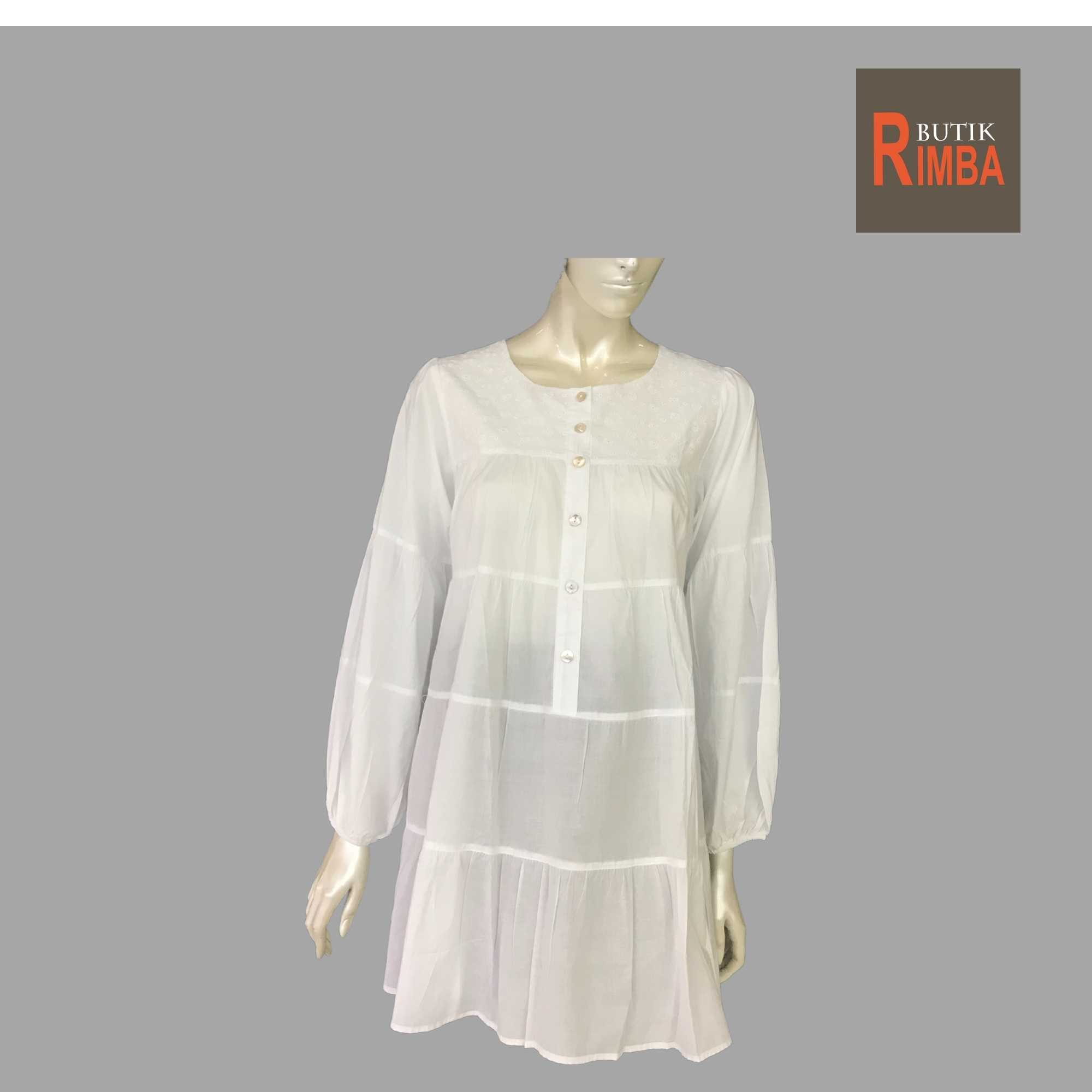 WOMEN CASUAL AND COMFORTABLE WHITE BLOUSE COTTON FREE SIZE PATTERN 11