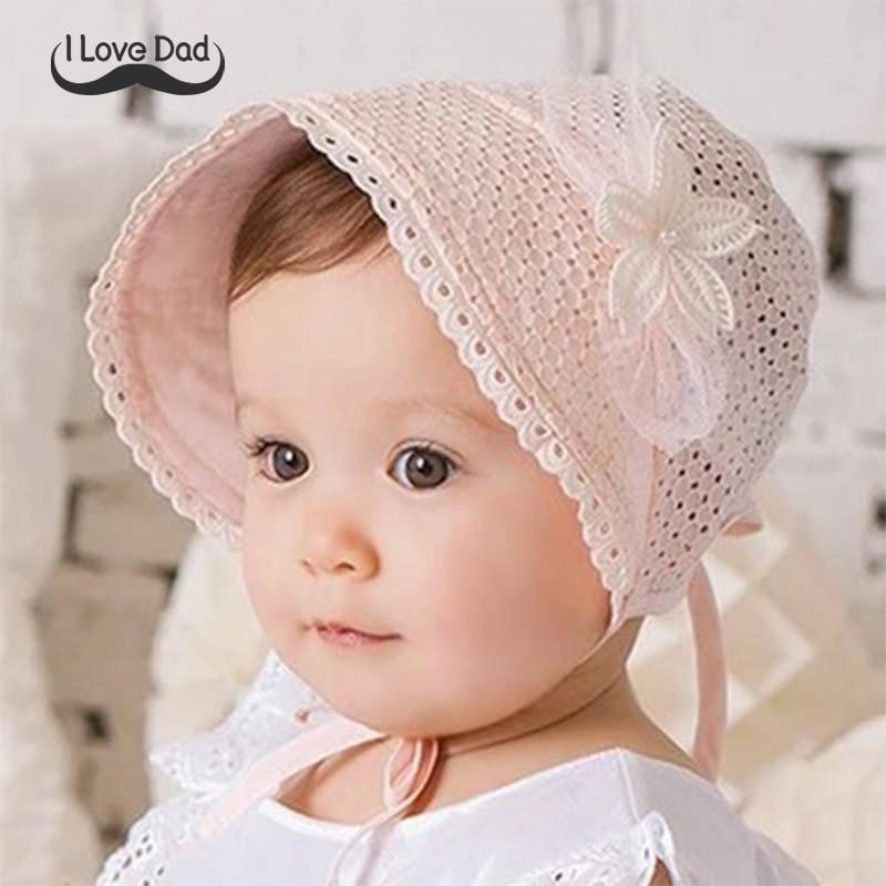 Cute Baby Princess Hollow Bow Infant Hat Lace Summer Flower Cotton Girls Sun Cap