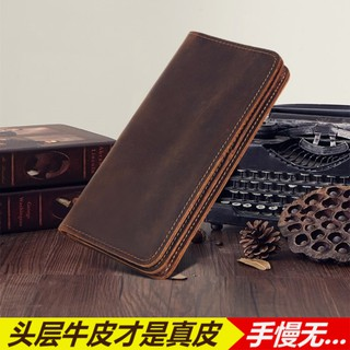ba31399fa3d4 Crazy horse leather men's wallet long head layer leather handmade ...