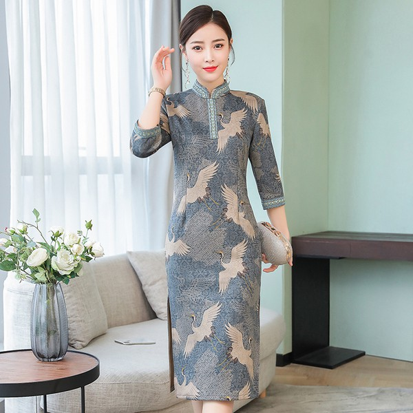 21f578943 ProductImage. Sold Out. Plus Size Retro Women Long Qipao Split Dress  Embroidery Ladies Bodycon Cheongsam