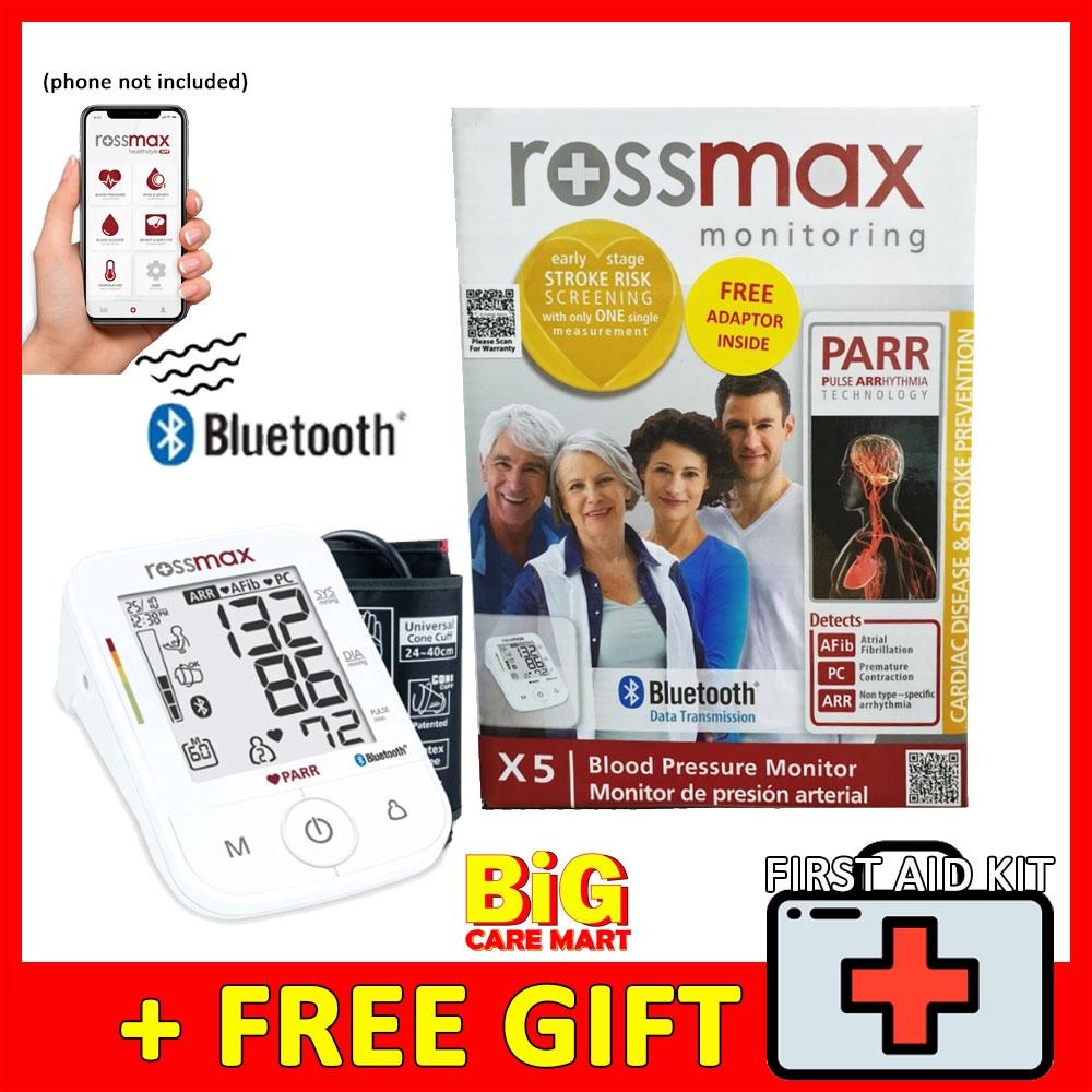 Rossmax X5 Bluetooth Blood Pressure Monitor FREE Adapter + 1st Aid Kit