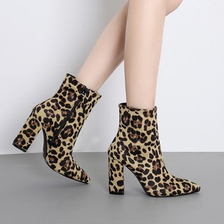 184292795d2 Women Snakeskin Leopard Toe Zip Thick Pointed Boots Shoes High Shoes ...