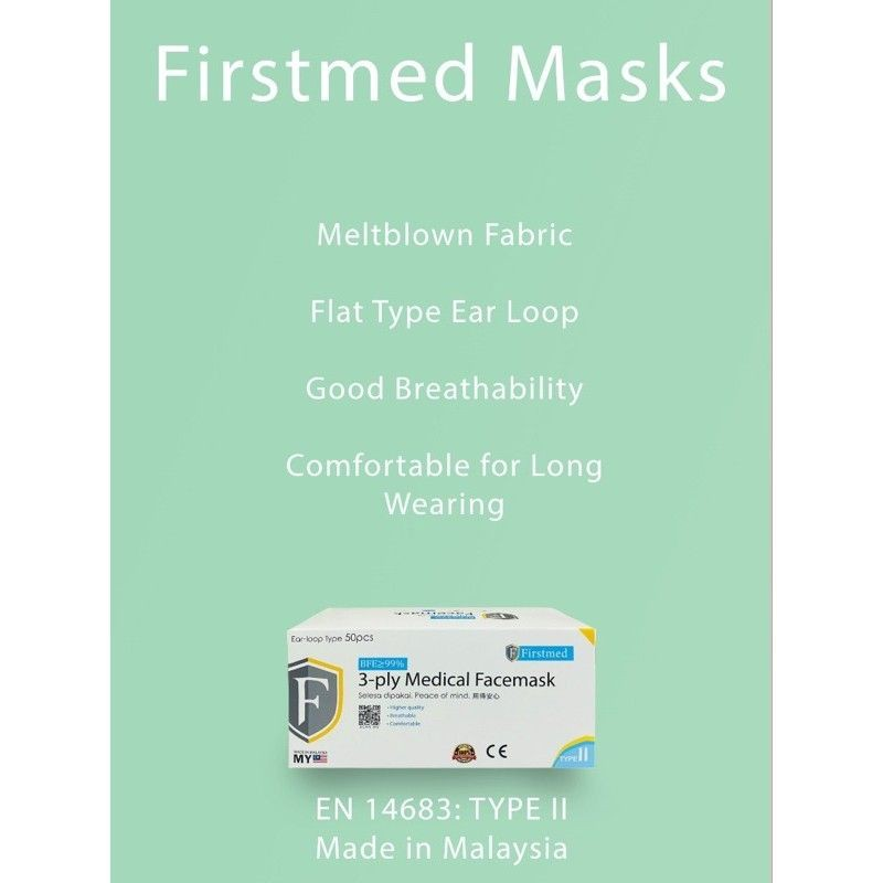[Made in M\'SIA] Firstmed High Quality 3 ply Medical Face Mask 50pcs