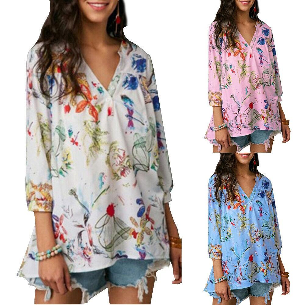 Womens Vintage Lapel V-Neck Floral Printed Blouse Linen Long Sleeve Long Shirt Tunic Top Plus Size M-5XL Clearance