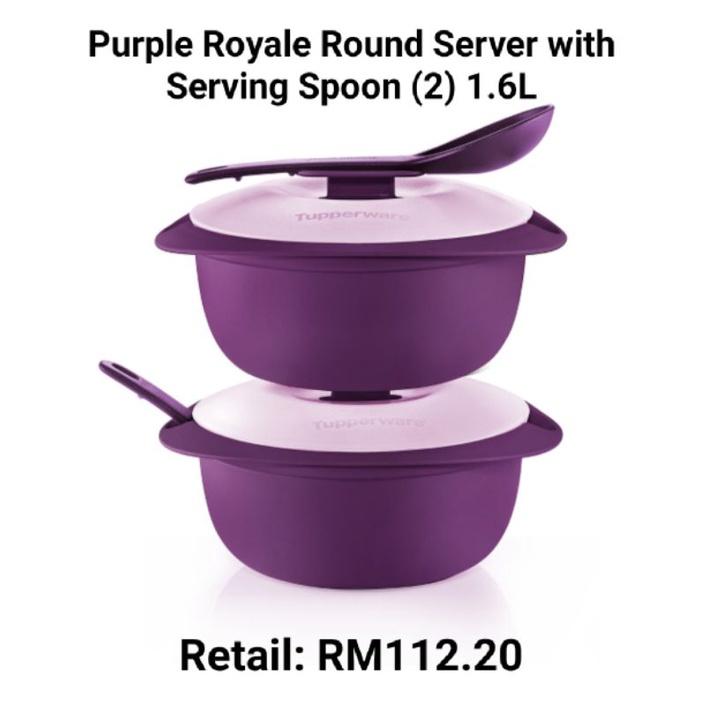Tupperware Purple Royale Round Server with Serving Spoon (2) 1.6L & Sambal Dish (2) 110ml