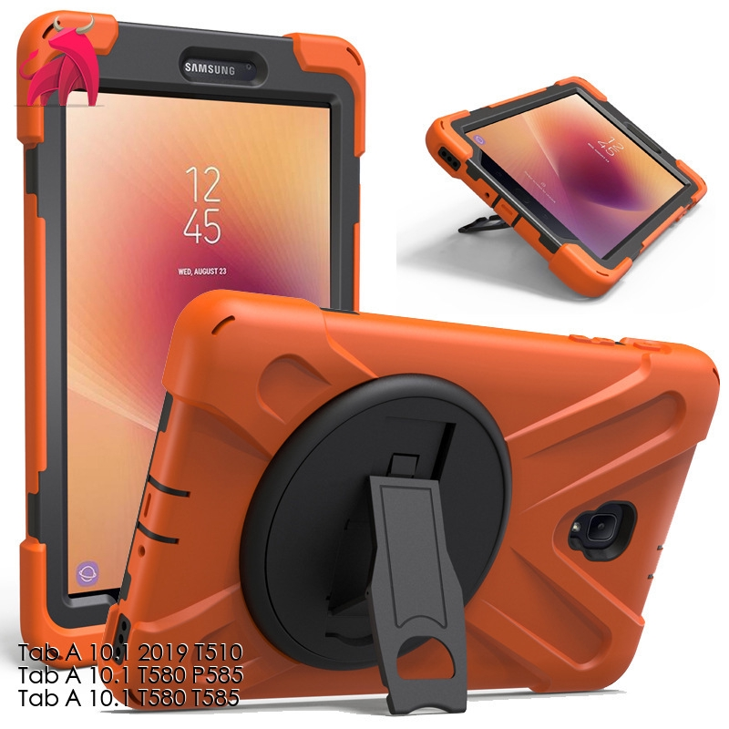 Samsung Tab A 10.1 2019 T510 Pirate King Silicone PC Rotating Bracket Tablet Case P585 Anti-Fall Protect Case