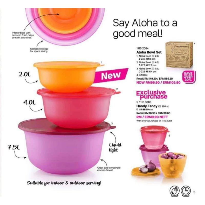 Tupperware Aloha Bowl Set (3) 7.5L, 4L & 2L