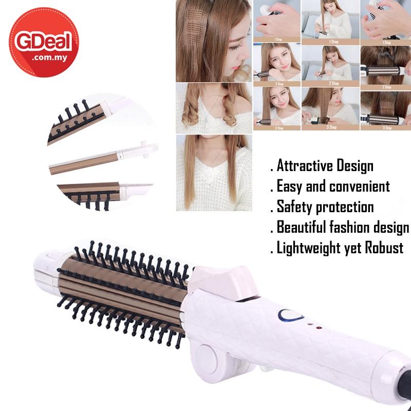 GDeal 3-In-1 Folding Electric Hair Comb Buckle Big Roll Hair Straightener Splint