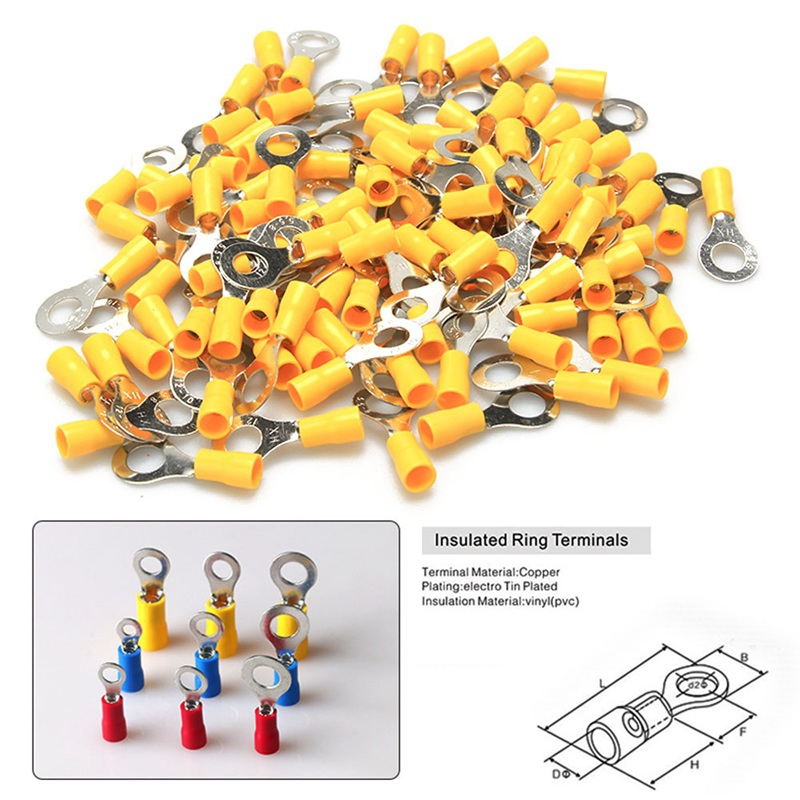 100pcs Yellow Ring Terminal 10-12 AWG RV 5.5-6 Insulated Vinyl Crimp Connector