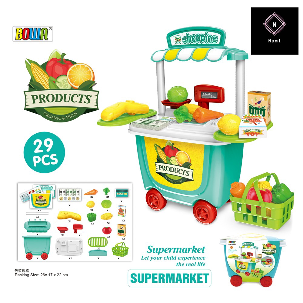 Supermarket Pretend Toys Set With Trolley - Shopping Play Set For Kid 28pcs