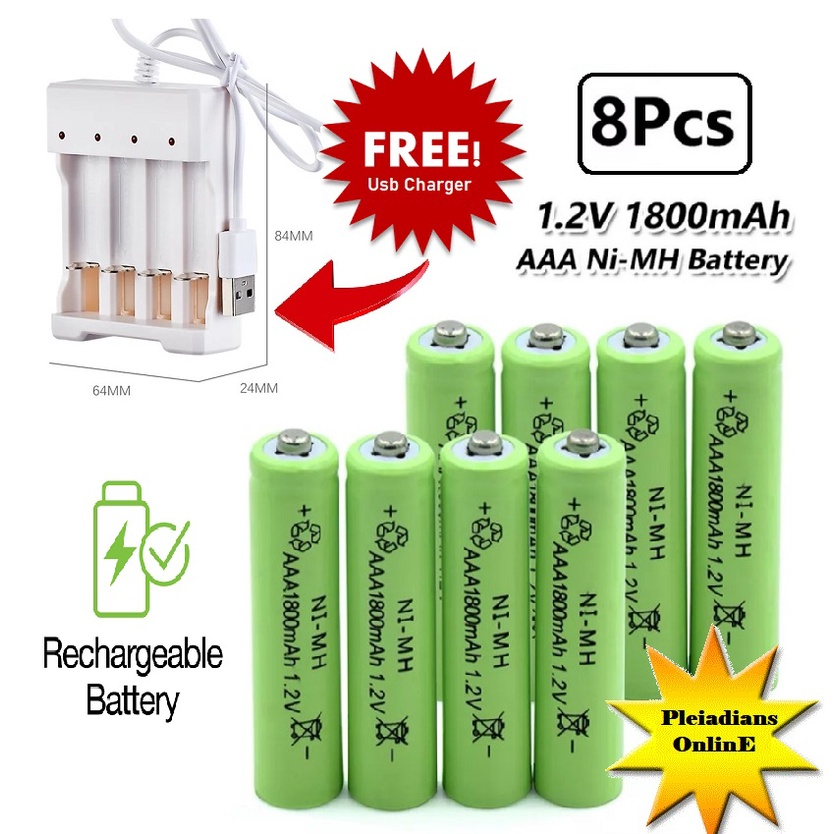 [ READY STOCK ]  AA AAA 3.7V Battery Charger USB Port For Ni-CD Lithium Rechargeable Solar Battery Pengecas