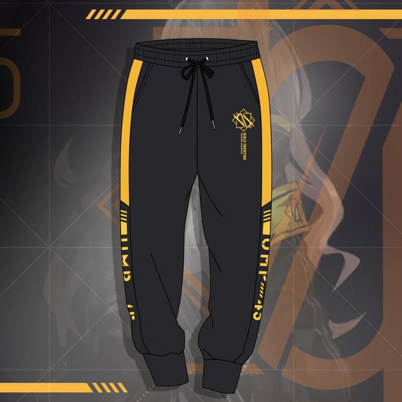 Anime Girls Frontline UMP45 Short Sleeve Hooded Coat Long Pants Trousers Black
