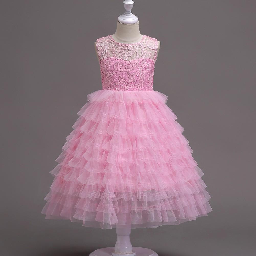 11bd5e021be64 2-15Y Big Size Girls Crew Sleeveless Clothing Kids Fashion Prom Dress