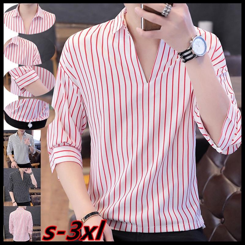 Mens Fashion Shirt 3/4 Sleeve Stripe T Shirt V Neck Casual Simple Shirts  Business Slim Fit Shirt Tops SIZE S-3XL | Shopee Malaysia