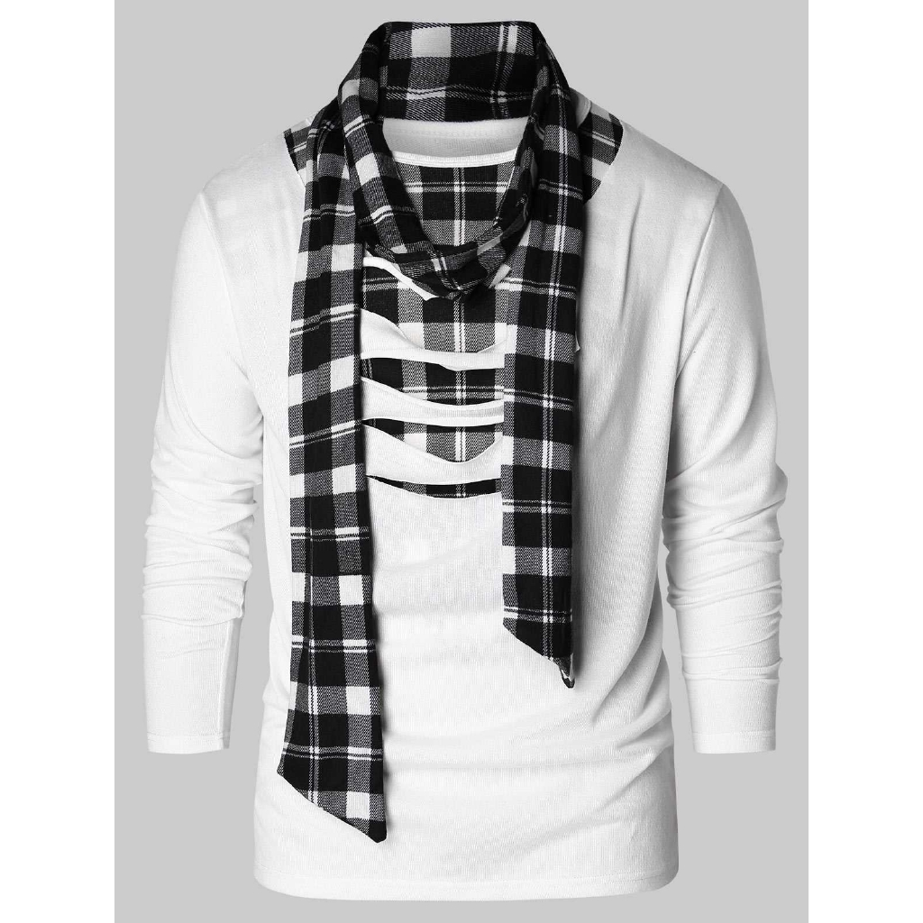 Scarf Collar Checked Print Destroyed T-shirt (White)