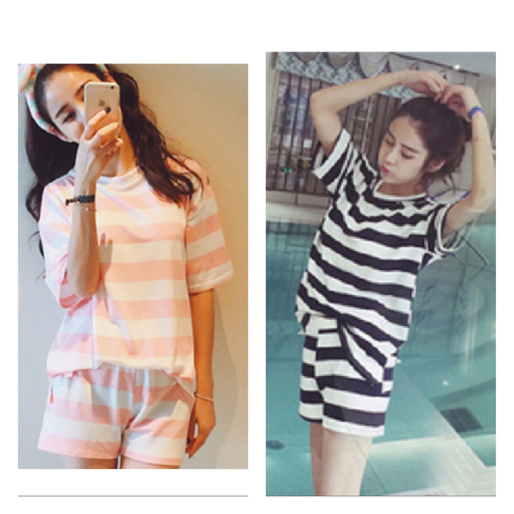 [READY STOCK] WOMEN MILK SILK SHORT SLEEVE & SHORT TROUSER SLEEPWEAR PYJAMAS WITH STRIP DESIGNED (BLACK & PINK)
