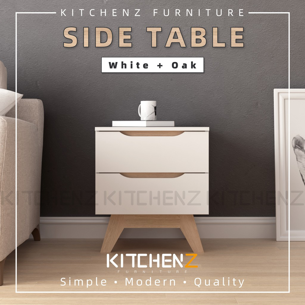 KitchenZ Simona 2ft Modernist Design Side Table With 2 Drawer Solid Board Side Table / Meja Sisi - HMZ-FN-ST-5448-WT