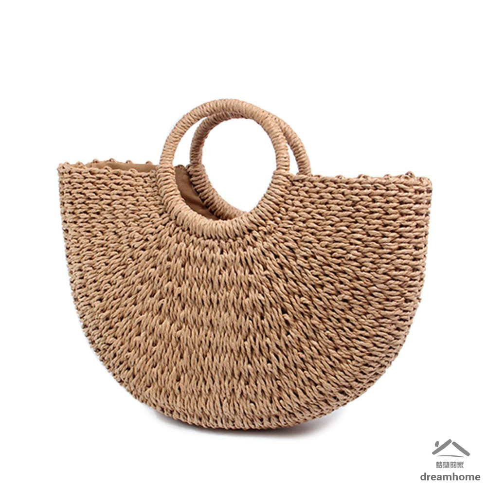 Clothing, Shoes & Accessories Women Wicker Handbag Totes Beach Straw Woven Summer Rattan Basket Shopping Bag