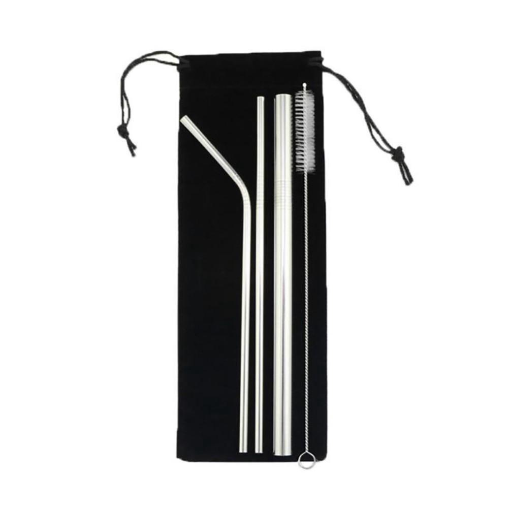 304 Stainless Steel Straw 5 PCS Drinking Bubble Tea Portable Outdoor Environment Friendly Reusable Straw