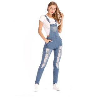 free shipping shop for genuine detailed look Plus Size Denim Jumpsuit Women Slim Ripped Denim Jeans