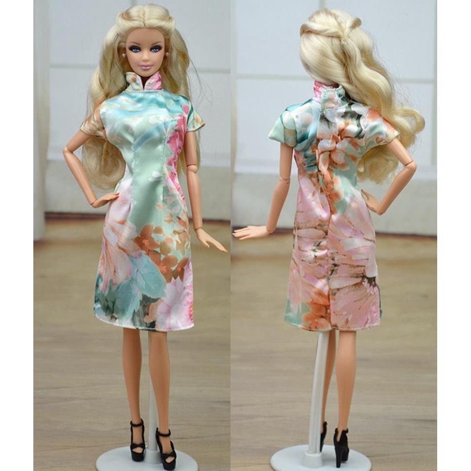 Flower Chinese Traditional Dress Qipao Dresses For Barbie Doll Clothes  Cheongsam  086a95fd2acb