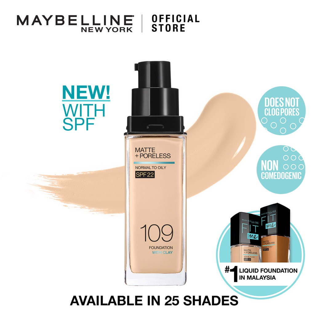 Maybelline Fit Me Matte Poreless Liquid Foundation Spf 22 30ml Fit Me Foundation Maybelline Foundation Fit Me Shopee Malaysia