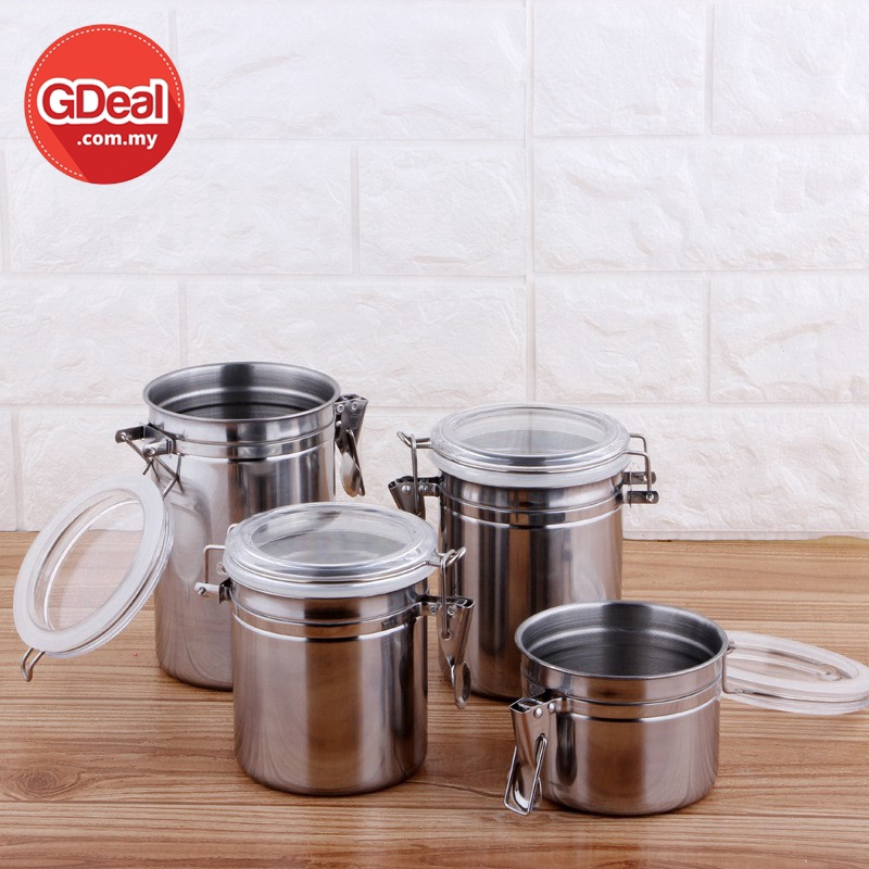 GDeal 4pcs Canister Storage Food Snacks Stainless Steel Kitchen Can Airtight Sealed Jar