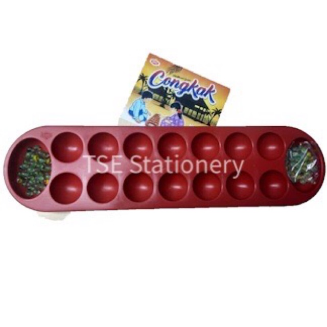 16 Holes Plastic Congkak With Marble / Manik (Hee) YHT3491