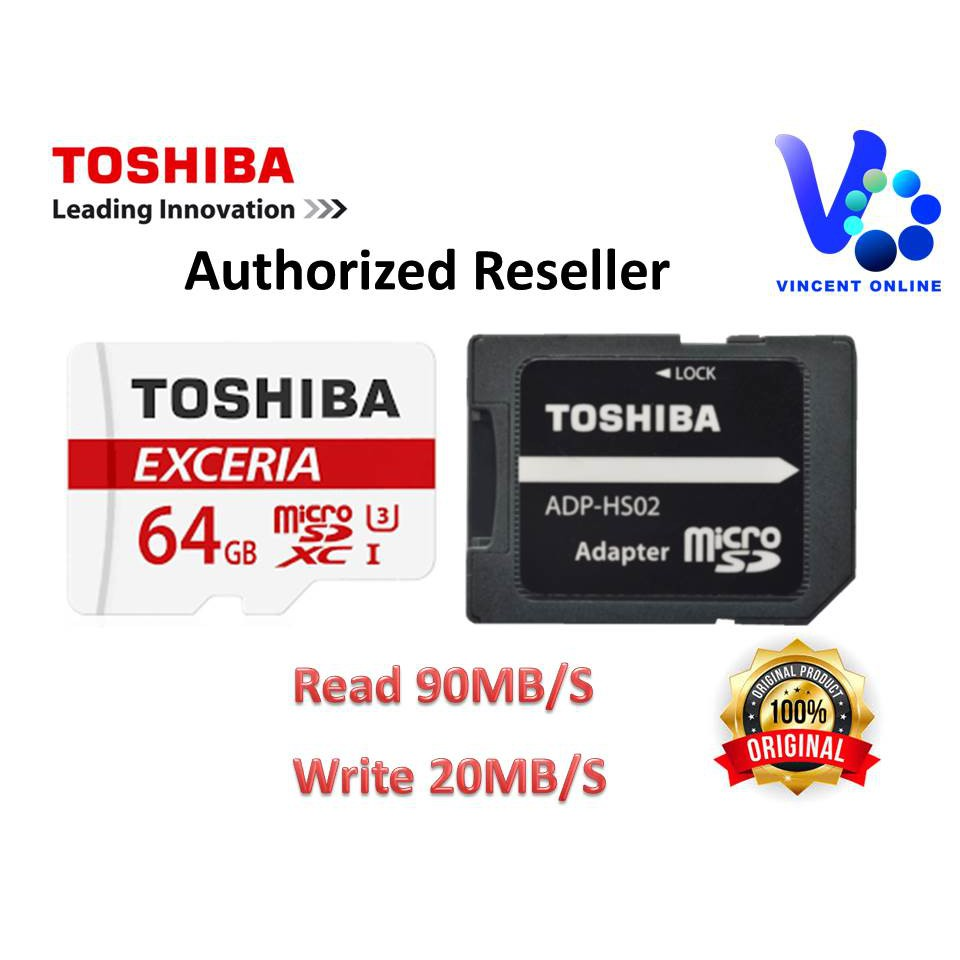 Toshiba Exceria M302 64gb 90mb S Micro Sdhc U3 Class 10 With Free Sdxc Uhs I 48mb Adapter Shopee Malaysia