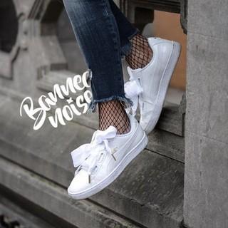 cheaper 5de7a 53c46 Puma Suede Basket Heart Ribbon Bow Shoes