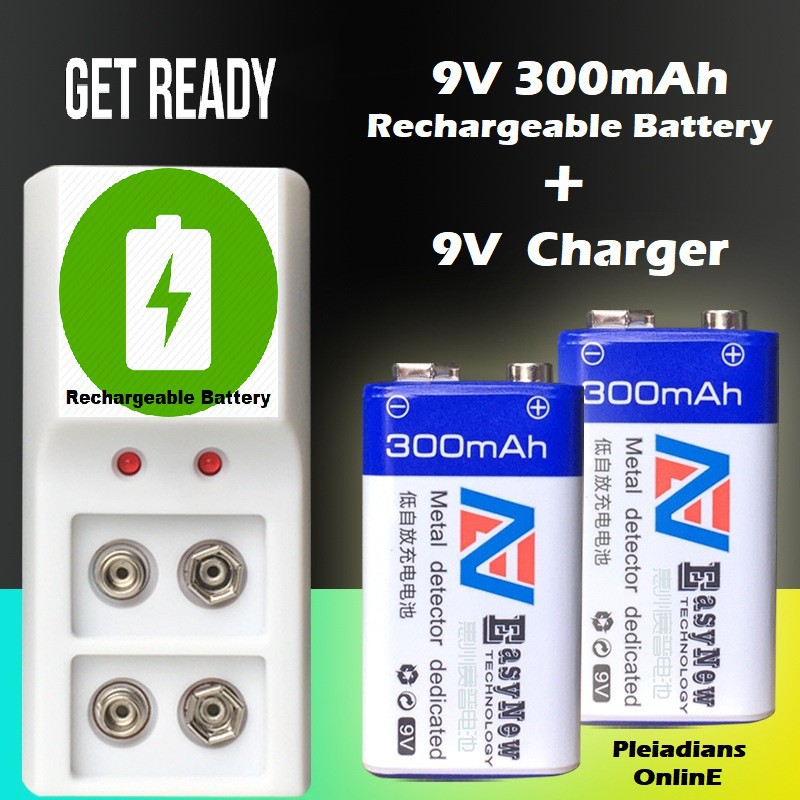 [ READY STOCK ]  9V 300mAh NI-MH Rechargeable Battery + 9V High Current Smart Charger Microphone Toy Remote Jualan Murah