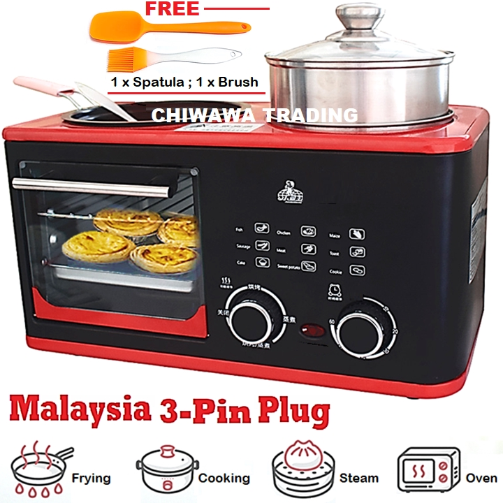 【Malaysia 3-Pin Plug】4IN1 Toaster Oven Griddle Grill Frying Pan Steamer Cooking Pot Breakfast Machine / Ketuhar