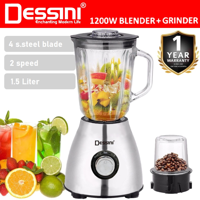 DESSINI ITALY 1.5L Stainless Steel Blender Grinder Mixer Juicer Extractor Food Processor Smoothie Ice Crusher / Pengisar