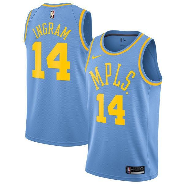 ac905e90828 Los Angeles Lakers #14 Brandon Ingram Blue Throwback Jersey | Shopee  Malaysia