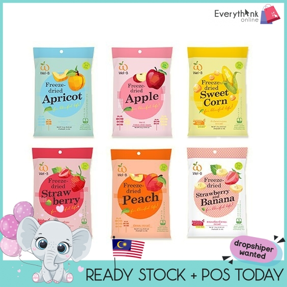READY STOCK WEL B FREEZE 6 FLAVOURS DRIED FRUITS  (14G)