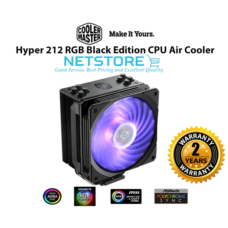 COOLER MASTER HYPER 212 RGB Black Edition CPU Air Cooler - RR-212S-20PC-R1