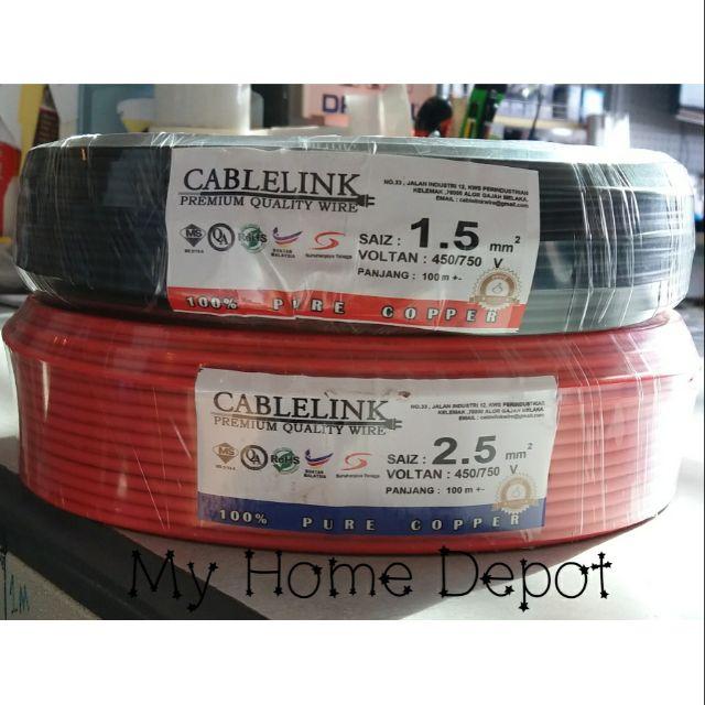 1 5mm SIRIM Pure Copper PVC Wire 1 5mm Electrical Cable 100% Pure Copper
