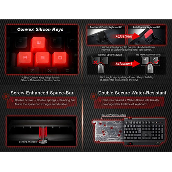 BLOODY Turbo Illuminated Wired Gaming Keyboard B120