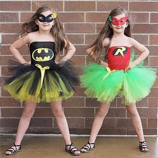 Dress Cosplay Costume Toddler Kids Girls Superhero Fancy Tutu Party Skirt Outfit
