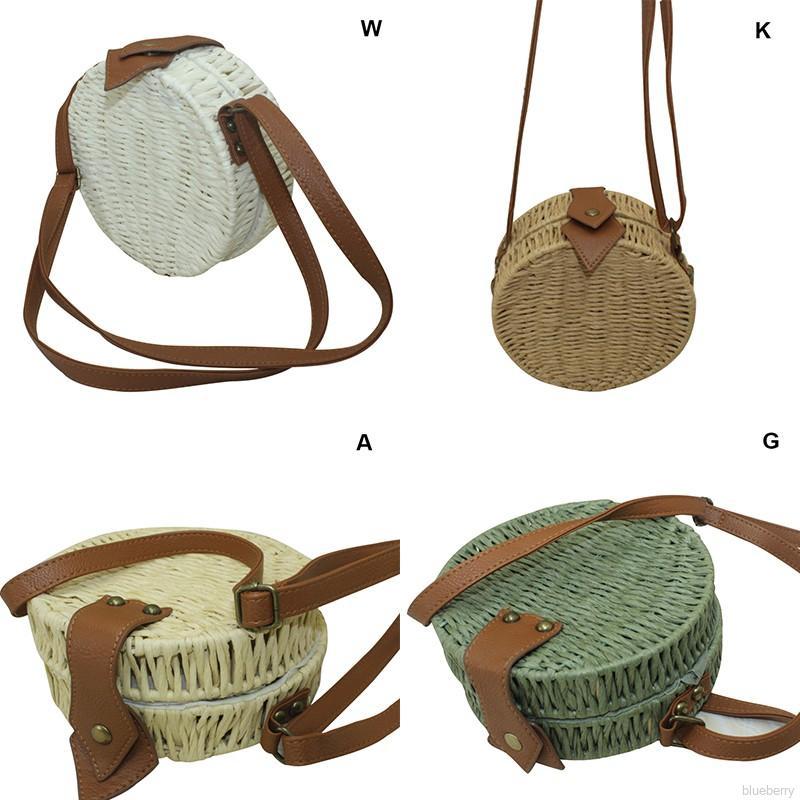 blueberry✨Forest Style Retro Straw Round Shape All-match Women Crossbody Bag
