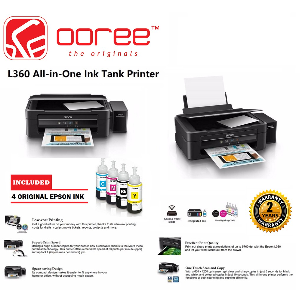 GENUINE Epson L360 All-in-One Ink Tank Printer Print/Scan/Copy with  Original Ink