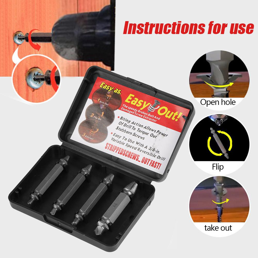 Drill Bits 4 Pcs Kit Double Side Damaged Screw Extractor Out Remover Bolt Stud Tool