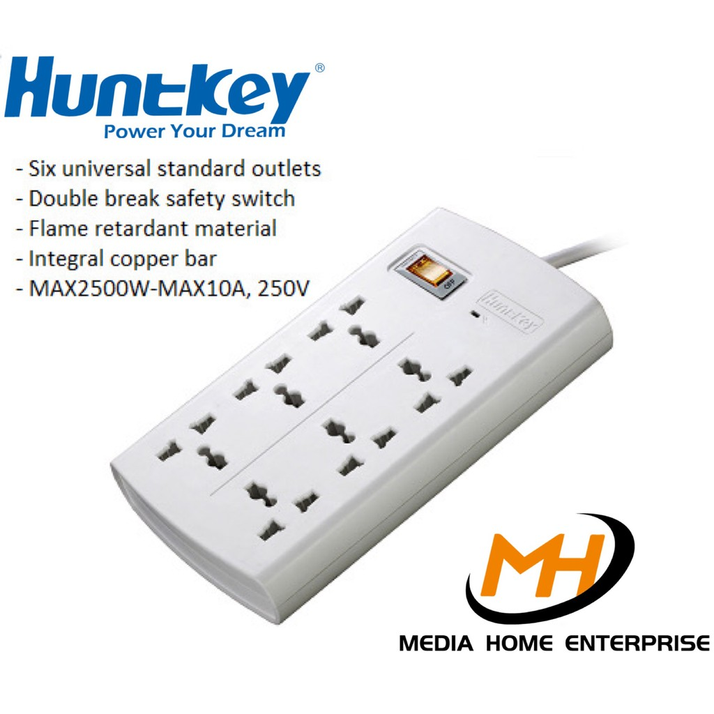 Huntkey Power Strip SZM-601 - Six universal standard outlets, 2 meter length cable