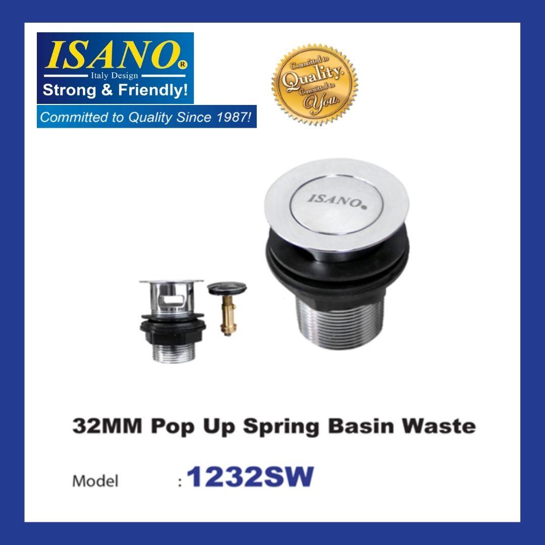 ISANO POP UP SPRING OVERFLOW BASIN WASTE WASTE 32MM - 1232SW